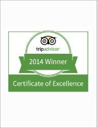Trip Advisor Certificate of Excellence Award 2014